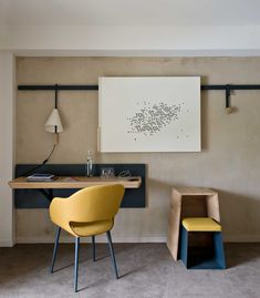 Study nook in hotel room at converted Abbaye de Fontevraud by Jouin Manku in Anjou, France | Yellowtrace