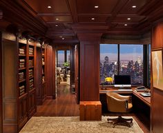 Manhattan Central Park Penthouse Home Office. #ChicInteriors #HomeOffice #PenthouseInteriors