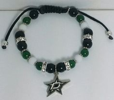 Dallas Stars Macrame Bracelet NHL by BijouByNija on Etsy