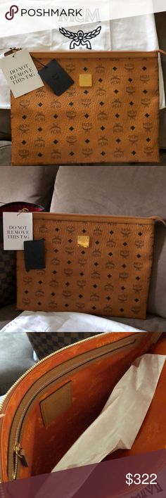 MCM Heritage Pouch Hi friends! I just made a huge purchase at MCM online for this beautiful MCM Heritage Pouch. Unfortunately I ordered the wrong size and I cannot return due to final sale. Please help my take these off my hands! Serious inquires only. Willing to negotiate. MCM Bags Clutches & Wristlets