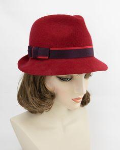 Women's Wool Felt Fedora with red and dark burgundy ribbon. Felt Hat, Wool Felt, Hat Blocks, Fedora Hat, Red Ribbon, Grosgrain, Color Pop, Burgundy, Dark