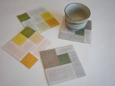 pojagi coasters or larger mug rugs Quilting Projects, Quilting Designs, Sewing Projects, Bubble Quilt, How To Make Coasters, Fibre And Fabric, Contemporary Embroidery, Mug Rugs, Fabric Art