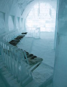 The Icehotel in northern Sweden Ice Hotel Sweden, Ice Bars, Ice Houses, Snow Sculptures, Ice Castles, Lappland, Snow And Ice, Travel Design, Vacation Trips