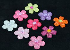 9 Sparkly Faceted Flowers with Gem Centers by Frecklesfindings, $5.00