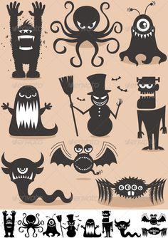 Set of 9 cartoon monsters. – Silke Münchhausen Set of 9 cartoon monsters. monster silhouettes for windows Fröhliches Halloween, Adornos Halloween, Holidays Halloween, Monster Party, Cartoon Monsters, Cartoon Characters, Samhain, Hallows Eve, Decorative Pillows