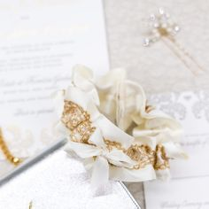 Ivory and gold lace wedding garter-by The Garter Girl