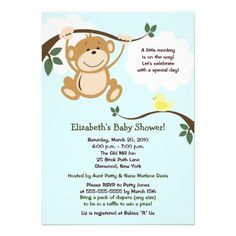 Monkey and Birdie Neutral Baby Shower Invite
