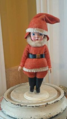 Vintage old santa claus nancy ann story book doll on marked stand