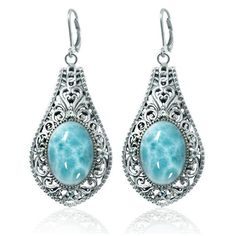 Drop Earrings with Oval Larimar and Round Sky Blue Topaz Stones by http://jewelryandmore.us/ #larimar #stones #topaz #dropearrings #jewelry