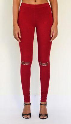 """""""Studded Knee Detail"""" Cotton & Lycra Leggings – Full Length. Get Now : https://www.estrolo.com/product-category/women/leggings/ #RedLeggings #DesignerLeggings #NewArrivals #EstroloFashion"""