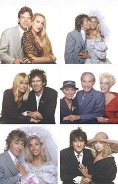 Mick Jagger, Jerry Hall, Patti Hansen, Keith Richards, Shirley Watts, Charlie Watts, Seraphina Watts, Ronnie Wood and Jo Wood, at Bill Wyman's wedding to Mandy Smith in London, 5th June 1989. - © Photos by Terry O'Neill.