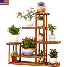 Heavy Duty Wood 5Tier Plant Stand Shelf Indoor/Outdoor Flower 10 Pot Rack Holder | Home & Garden, Yard, Garden & Outdoor Living, Garden Décor | eBay!