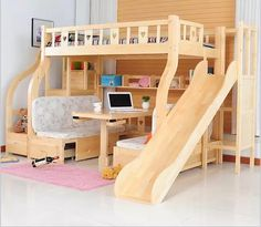 Kids bedroom furniture - Children Beds multifunction environmental children bunk bed wooden beds with study desk drawer slides Children bed Cool Kids Bedrooms, Awesome Bedrooms, Cool Rooms, Small Rooms, Kid Bedrooms, Cool Kids Beds, Shared Bedrooms, Bed Rooms, Bed Ideas For Kids