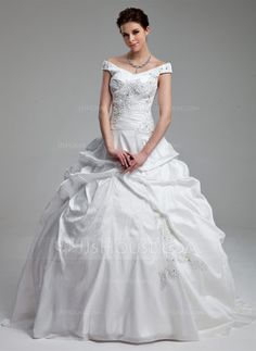 Ball-Gown Off-the-Shoulder Sweep Train Taffeta Wedding Dress With Ruffle Beading Sequins (002012899) - JJsHouse