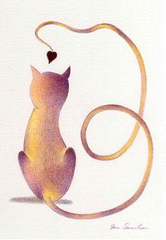 Love Cat Two  Original colored pencil drawing by artofjane on Etsy