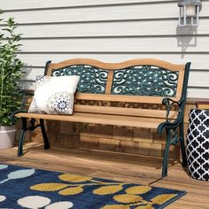 Chic Atkins Outdoor Patio Park Bench by Red Barrel Studio top rated furniture sale from top store Stone Garden Bench, Cast Iron Garden Bench, Teak Garden Bench, Outdoor Garden Bench, Wooden Garden Benches, Iron Bench, Patio Bench, Patio Chairs, Outdoor Benches