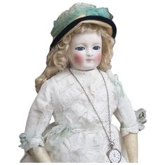 "22"" (56 cm) Rare Antique Early  Large French Porcelain Doll with enamel eyes, by Blampoix, in original dress, excellent condition! 1860"