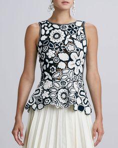 Oscar de la Renta Hand crocheted Floral Peplum Blouse - Lyst <3 bellissima ! Bravissima chi riesce a farla!