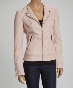 Take a look at this Blanc Noir Blush Pink Zip-Up Faux Leather Jacket on zulily today!