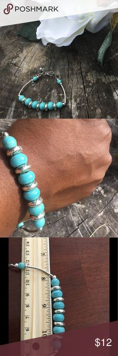 ⚜️Fashion Bracelet Turquoise-Beads⚜️ Fashion simulated turquoise bracelet⚜️Handmade⚜️Metal Alloy with silver tone⚜️Approximately 6 inches with 2 inches extender⚜️Please note colors may vary and measurements are approximate Jewelry Bracelets