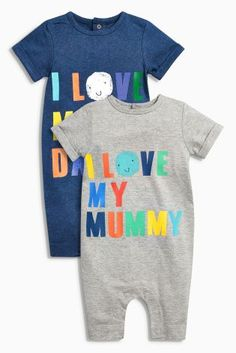 Buy Navy/Grey Mummy Daddy Rompers Two Pack (0mths-2yrs) online today at Next: Hungary