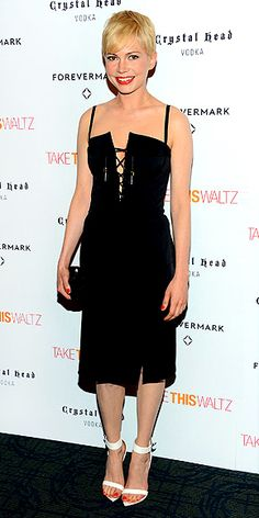 """MICHELLE WILLIAMS at a NYC screening of """"Take This Waltz."""" ~ A lace-up bodice gives an unexpected twist to the star's little black dress by Altuzarra which is made even sexier thanks to her sexy white heels & her pop of bright lipstick."""