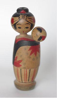 Mother & child kokeshi
