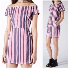 TOPSHOP denim stripe moto skirt mini skirt pink JUST IN!! Moto stripe denim a-line skirt in trendy spring / summer colors, light pink and a slightly darker lavender lilac Purple color, may look blue or periwinkle depending on the light. From Topshop brand, has 2 front pockets and zips up in the back. Stripes are variated in thickness, skirt is approximately 16 inches long. Topshop Skirts Mini