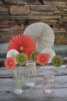Ashleys Dandelion Wishes: DIY Lolly Table Decorations - Could make big ones for hanging decor too.DIY Lolly Table Decorations -- these are so cute but it looks like you might need a special cutting tool.DIY Lolly Table Decorations - use pages from ch Table Centerpieces, Table Decorations, Centrepieces, Diy And Crafts, Paper Crafts, Paper Fans, Deco Table, Paper Flowers, Paper Rosettes