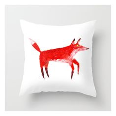 Fox Throw Pillow ($20) ❤ liked on Polyvore featuring home, home decor, throw pillows, fox throw pillow, animal throw pillows, white home decor, white toss pillows and fox home decor