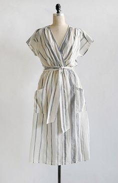 Feminine Vintage Inspired Dress / Feminine Striped Midi Dress / Coast of Crete Dress