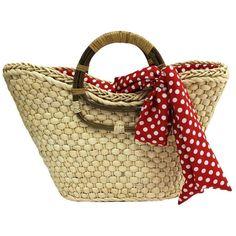Straw Beach Tote Bag W/ Red Polka Dot Printed Scarf ($37) found on Polyvore