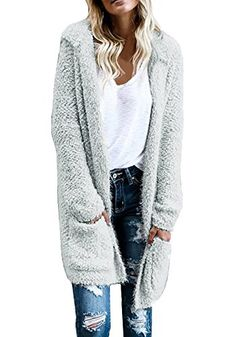 Ermonn Women Casual Open Front Long Thicken Pocket Knitting Cardigans Sweater Coat with Hats