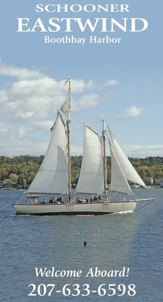Schooner Eastwind sailing in Boothbay Harbor with fall foliage in the background