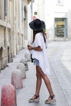 JUNESIXTYFIVE - Blouse blanche espadrilles short en jean