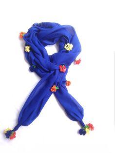 Crochet flowered dark blue scarf by Citipitishop on Etsy, $20.00