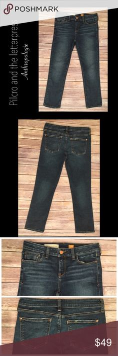"""Pilcro and the letterpress Anthropologie 26 Jeans Pilcro and the letterpress Anthropologie no. 26 Skinny Slim Fit / Stet Jeans  Waist 15"""" (flat)  Inseam 25"""" Rise 8""""  No stains No holes Light distressing around pockets Anthropologie Jeans Skinny"""
