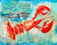 Lobster Nautical Art Print Hugos.    This is a fine art print of my original mixed media art named Hugos. It was inspired by the fun vintage