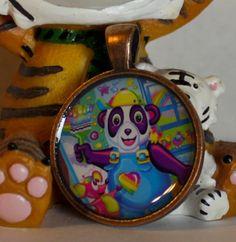 Lisa Frank Painter Panda bear Metal round Pendant by GreyGyrl, $8.00