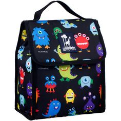 Wildkin Black & Bright Monsters Munch' Lunch Bag (35 BRL) ❤ liked on Polyvore featuring home, kitchen & dining, food storage containers, wildkin, thermal lunch bag, black lunch bag and lunch sack