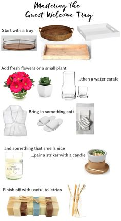 Mastering the Guest Welcome Tray – Daly Digs Guest Welcome Tray Ideas Guest Room Baskets, Guest Basket, Guest Room Decor, Guest Welcome Baskets, Home Design, Interior Design, Guest Room Essentials, Airbnb House, Bed Tray
