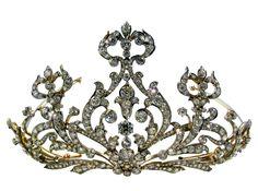 Antique Tiara, USA (1905; diamonds, silver, yellow gold).