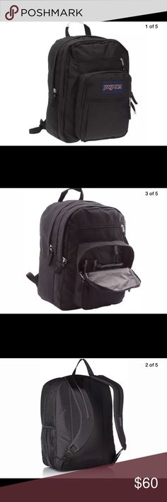 Jansport Big Student Backpack Black Unisex Backpack 100% polyester Jansport Bags Backpacks