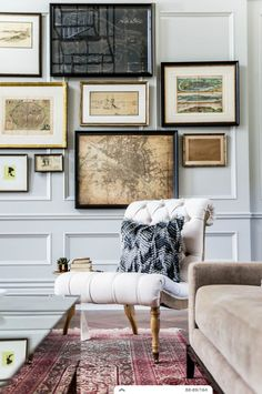 gallery wall in a family room, den or home office with a slipper chair and an oriental rug Inspiration Wand, Interior Inspiration, Library Inspiration, Wall Molding, Panel Moulding, Decoration Chic, Art Decor, Living Spaces, Living Room