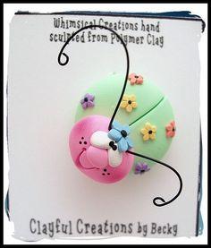 Becky's Polymer Clay  Springtime Ladybug PIN por clayfulcreations