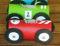 Race Car Tubes | 22 Cool Kids Crafts You Can Make From Toilet Paper Tubes