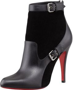 Christian Louboutin Canassone Buckled Black Suede-Leather Bootie