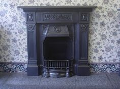 a cast iron fire place and hearth Cast Iron Fireplace, Bedroom Fireplace, Fireplace Mantle, Fireplace Design, Victorian Kitchen, Victorian Homes, Victorian Fireplace, Deco Originale, Original Vintage