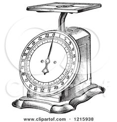 Vintage Clipart of a Retro Kitchen Scale in Black and White - Royalty Free Vector Illustration by Picsburg