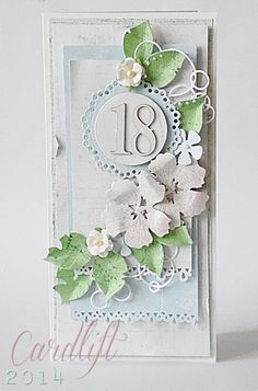 Hand Made / Crafted 18th Birthday Card idea, or would make very pretty shabby chic wedding invitations or greetings cards. Prima Flowers / Cardlift 2014